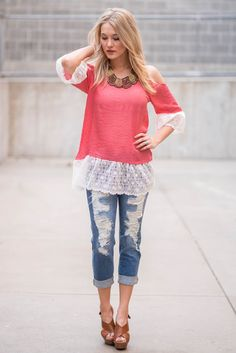 Bell's Cold Shoulder Lace Tunic Top (Coral)