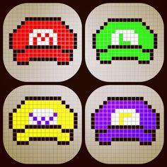 Mario, Luigi, Wario and Waluigi hats perler bead patterns designed by  Rosealine_Black