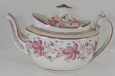 Early 19th Century Creamware Teapot with Pink Lustre Decoration |