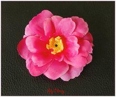 Fleur artificelle petite fleur de pêcher rose fuchsia barrette cheveux x1 : Décoration florale par lilycherry