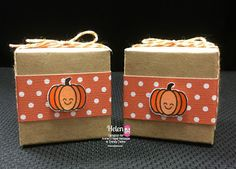 DT Helen @ Twine It Up! by Annie's Paper Boutique showcasing the 2x2 Kraft Boxes, Creamy Pumpkin and the Hello Fall Planner Stamp Set on her super cute treat boxes.