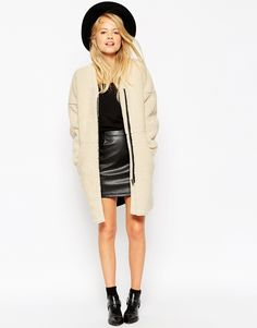 Image 4 of ASOS Cocoon Coat in Borg
