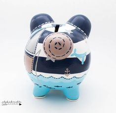 Nautical Striped Personalized Piggy Bank in Navy, Blue and Grey with Whale, Sailboat and Anchor Hand Painted Ceramics, Porcelain Ceramics, The Little Couple, Personalized Piggy Bank, Stroller Blanket, Cute Crafts, Kids Crafts, Must Have Items, Ceramic Painting