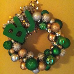 Ornament wreath: Baylor Bears!