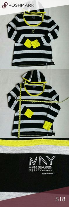 Marc New York Andrew Marc Performance Pullover Top Marc New York Andrew Marc Performance Pullover Top.  Long sleeved hooded tee, gray and black wide stripes with bright yellow trim.  60% cotton, 40% polyester. Andrew Marc Tops