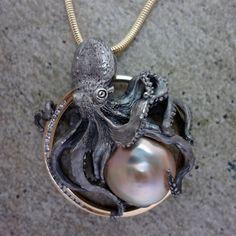 Sterling Silver handmade Pearl and Diamond Octopus Circle Pendant - All Animal Jewelry & Jan David Design Jewelers http://allanimaljewelry.com/products/munk-an-octopus-pendant