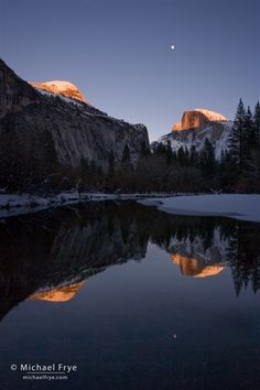 Half Dome and Moon Reflected in the Merced River, YNP by Michael Frye