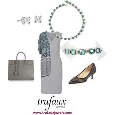 Adorn this colorful cardigan with this Art Deco aquamarine crystal necklace and bracelet to emphasize this season's lead color.