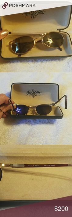 AUTHENTIC MAUI JIM SUNGLASSES BEAUTIFUL AUTHENTIC MAUI JIM POLARIZED SUNGLASSES, NO SCRATCHES, FLEX BEND, SO COMFY AROUND FACE. COMES WITH CASE, WOMENS SUNGLASSES. EXCELLENT CONDITION. NO SCRATCHES, JUST A GLARE, HARD TO TAKE PICTURES OF SUNGLASSES. ; ) Maui Jim Accessories Sunglasses
