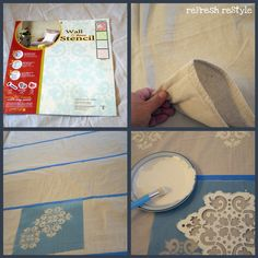 Curtains - painted drop cloth for curtains or shower curtain.  Cheap, easy, and custom made.