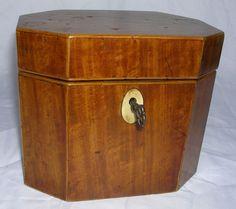 Georgian Era English Tea Caddy-Octagonal-c.1790 Georgian Era, Tea Strainer, Tea Caddy, China Patterns, Tins, Tea Time, Tea Pots, Decorative Boxes, English