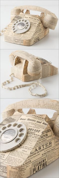DECOUPAGE :: Vintage Paper Covered Rotary Phone :: Love the idea...I'm thinking of doing this to a piece of furniture I have with antiqued book pages... | #bookpages #decoupage