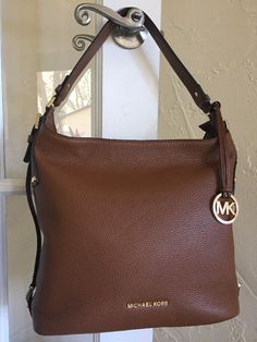 Michael Kors Bedford Belted Large Shoulder Bag Luggage Brown Leather  | eBay