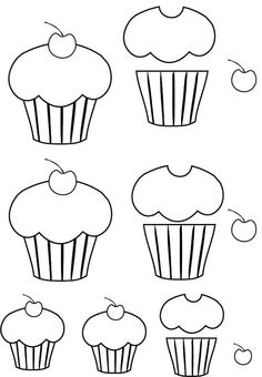 cup cake template Molde do dia: cupcake com café Felt Patterns, Applique Patterns, Applique Quilts, Applique Designs, Embroidery Applique, Felt Crafts, Paper Crafts, Cake Templates, Cupcake Template