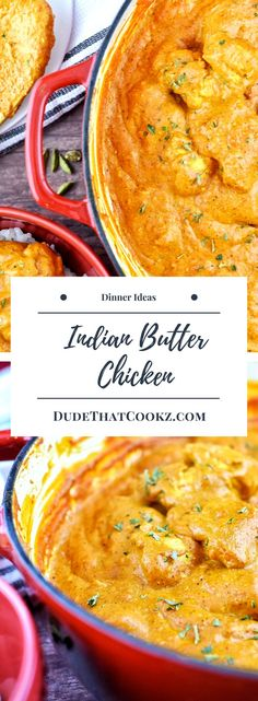 Indian Butter Chicken is a dish made with creamy spiced tomato sauce. The authentic Indian flavors you get from the coriander spices, cardamom, and other blended seasonings will definitely make this a family favorite. Healthy Dinner Recipes, Indian Food Recipes, Great Recipes, Healty Dinner, Indian Butter Chicken, Curry Recipes, Cod Recipes, Cabbage Recipes, Recipes