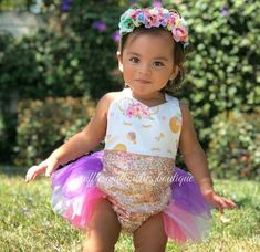03404e538c46 Baby Girl Rainbow Miss Mouse Gold Glitter Tutu Romper  Original Kryssi  Kouture Design Exclusive to