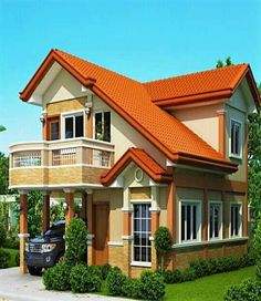 2 Story House with Balcony Double Story House, Two Story House Design, Simple House Design, Contemporary House Plans, Modern House Plans, House Floor Plans, Two Storey House Plans, House Plans With Pictures, House With Balcony