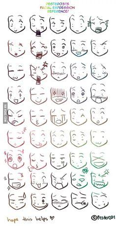 reference on drawing chibi faces Anime/Manga expresiones.A reference on drawing chibi faces on drawing chibi faces Anime/Manga expresiones.A reference on drawing chibi faces Anime/Manga expresiones. Chibi Faces, Drawing Techniques, Drawing Tips, Drawing Ideas, Drawing Drawing, Manga Drawing Tutorials, Drawing Meme, Drawing Designs, Comic Drawing