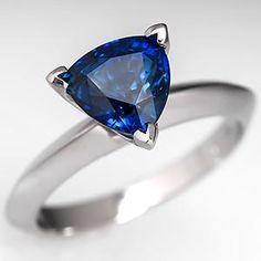 2 Carat Trillion Cut Sapphire Engagement Ring Platinum