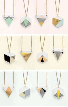 DIY: Geometric necklace pendants (link not found, could be using shrink plastic? Oh the lovely things: Geometry is fun! DIY necklace and pentants I'm thinking DIY with paint chips. Ceramic Necklace, Ceramic Jewelry, Clay Earrings, Polymer Clay Jewelry, Porcelain Jewelry, China Porcelain, Stud Earrings, Diy Jewelry, Jewelery
