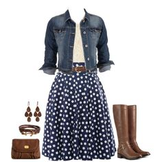 "#Modest doesn't mean frumpy. www.ColleenHammond.com #fashion #style #stylist ""Navy Polka Dots with a little brown"" by jamie-burditt on Polyvore"