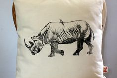 African Rhino hand block printed decorative scatter cushion cover by Kerry Cherry Designs and Prints on hellopretty.co.za