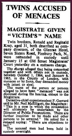 Reggie & Ronnie accused of menacing Real Gangster, Mafia Gangster, The Krays, Finsbury Park, Life Of Crime, Bonnie N Clyde, Headline News, Old Street, Vintage London