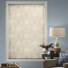 Blindsgalore® Expressions Cellular Shade: Room Darkening Circles shown in Smokey Quartz . Window Coverings, Window Treatments, Room Darkening Shades, Grey Roller Blinds, Honeycomb Shades, Cellular Shades, New Home Designs, House Design, Curtains