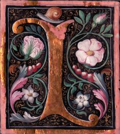 """Grand initial """"I"""" cut from a 16th century northern European antiphonal richly painted on parchment."""