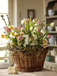 Awesome Spring Color Decoration Home: Rustic Wicker Pot Beautiful Flower Great Bring Spring In Home Ideas ~ cupersia.com Exterior Inspiration
