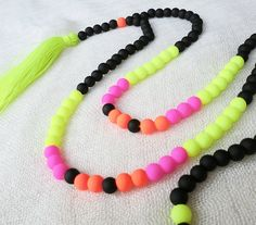 NEON NEON  neon tassel necklace with neon beads by Brightnewpenny, $26.00
