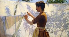Shadows, 1887 by Charles Courtney Curran (1861 1942). The most beautiful painting I've ever seen on the subject of laundry! The title says it all.