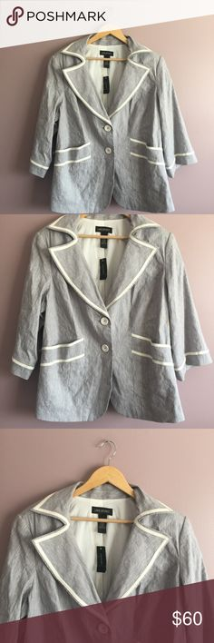 "New Lane Bryant Womens Gray Blazer MSRP $89.50 Brand new condition from a smoke free and pet free home. 1 business day shipping. Please message me if you have questions about this item. I am happy to assist you.  shoulder to shoulder: 19"" armpit to armpit: 26"" shoulder to hem: 26"" sleeve length: 19""  fabric content: 67% linen, 32% rayon, 1% spandex  The color is grayish-blue There is a small defect as shown in photo Lane Bryant Jackets & Coats Blazers"
