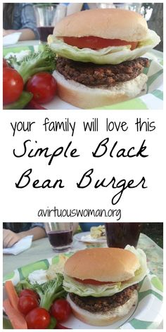 Your family will LOVE these Simple Black Bean Burgers!  @ AVirtuousWoman.org