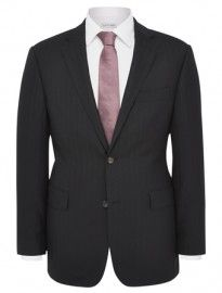 Austin Reed Regular Fit Black Herringbone Suit