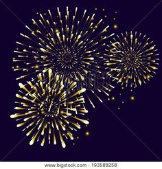 Happy New Year gold Firework on night background. Beautiful festive Christmas firework festival of Lights decoration. Vector isolated decorative template for brochure, banners, greeting card design.