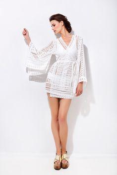 Κιμονό κρουαζέ με δαντέλα Ss16, Kimono, Cover Up, Dresses, Fashion, Vestidos, Moda, Fashion Styles, Dress