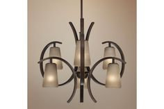 Franklin Iron Works Modern Bronze Amber Glass Chandelier - #EUU4979 - Euro Style Lighting