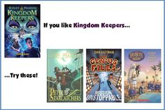 For fans of the Kingdom Keepers series by Ridley Pearson try: the Peter & the Starcatchers series by Dave Barry, the Genius Files series by Dan Gutman, and the Secrets of Droon series by Tony Abbott.