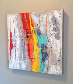 """Voici ce que je viens d'ajouter dans ma boutique #etsy : Ikouart, Abstract painting, abstract art, peinture abstraite colorée, Canvas, wall art, square, house wearing, gift, original art, 16""""x16"""""""