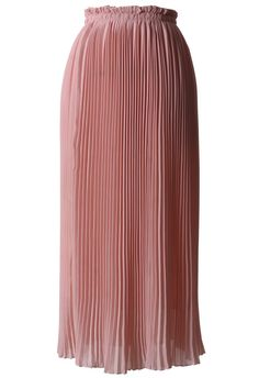 #Chicwish Peach Pink Chiffon Pleated Maxi Skirt