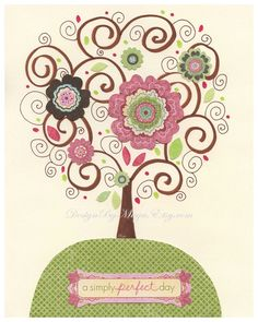 Baby girl, Nursery wall print, Baby girl room decor, love bird, tree, flowers....Green, pink brown, ivory, light pink, pale pink and sage. $17.00, via Etsy.