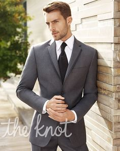 BLACK by Vera Wang Gray Two-Button Super 120s Satin-Edge Notch Lapel Tuxedo.  Brian would look SMOKIN' in this!