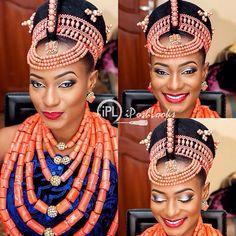 Gorgeous Benin bride ! Makeup by @iposhlooks ❤️