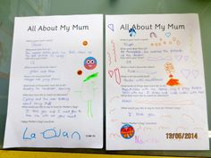 Mother's Day Bios/Interview: Prepare a set of questions to ask your students about their mums. Record their answers and have them decorate their interview sheet. Laminate and give as a gift to mum for Mother's Day.