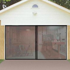 One of the best parts of working in the garage is letting the fresh air roll in, but without the bugs that come with it. The Instant Garage Door Screen instantly makes your garage a more enjoyable pla Garage Shed, Garage House, Diy Garage, Garage Doors, Garage Storage, Garage Organization, Garage Pergola, Garage Studio, Patio Roof