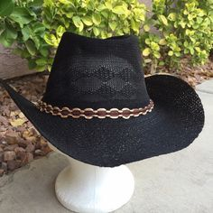 Beach or Pool black cowboy hat These are beach/pool quality hats. No one wants to ruin their rodeo cowboy hats at the beach or pool. So replace them with these fun hats. These are super light weight. One size fits most. Lizzy & Jane Co Accessories Hats