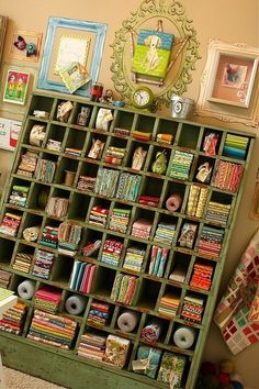 sewing room fabric storage I need this for my craft room Sewing Room Organization, Craft Room Storage, Fabric Storage, Craft Rooms, Organizing, Yarn Storage, Organization Ideas, Cubby Storage, Fabric Display