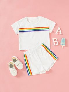 To find out about the Girls Rainbow Striped Print Top & Shorts Set at SHEIN, part of our latest Girls Two-piece Outfits ready to shop online today! Teen Fashion Outfits, Girl Outfits, Cute Outfits, Womens Fashion, Stylish Outfits, Girl Online, Two Piece Outfit, Girls Shopping, Stripe Print