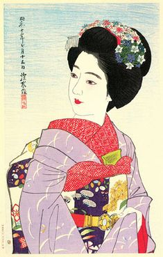 Maiko Girl  by Ito Shinsui, 1932  (published by Watanabe Shozaburo)